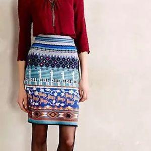 Anthropologie Wool Blend Llama Print Skirt
